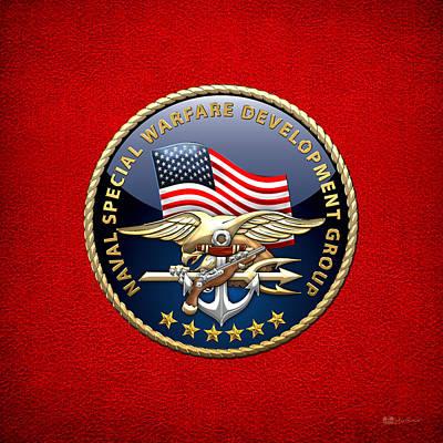 Naval Special Warfare Development Group - D E V G R U - Emblem On Red Original