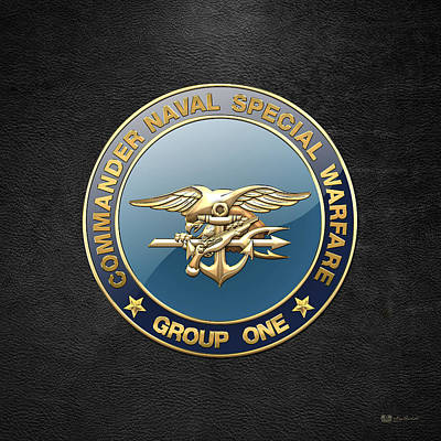 Digital Art - Naval Special Warfare Group One - N S W G-1 - Emblem On Black by Serge Averbukh