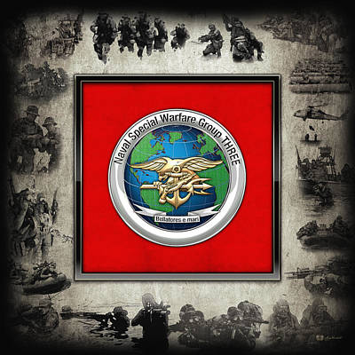 Digital Art - Naval Special Warfare Group Three - N S W G-3 - Over Navy S E A Ls Collage by Serge Averbukh