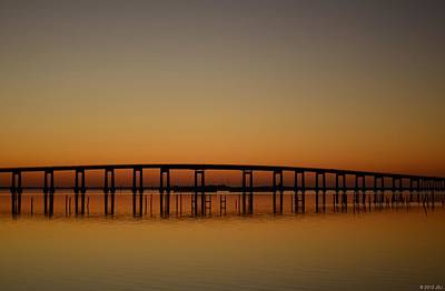 Photograph - Navarre Beach Bridge Reflections On Dead Calm At Sunrise  by Jeff at JSJ Photography