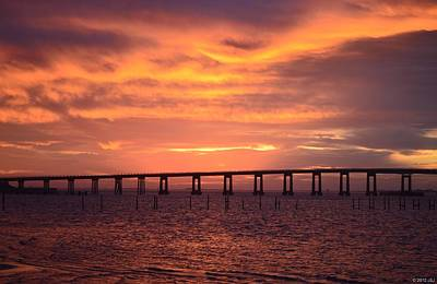 Photograph - Navarre Beach Bridge Silhouette At Sunrise With Clouds by Jeff at JSJ Photography