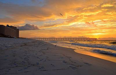 Photograph - Navarre Pier And Navarre Beach Skyline At Sunrise With Gulls by Jeff at JSJ Photography