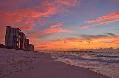 Photograph - Navarre Pier And Navarre Beach Skyline At Twilight by Jeff at JSJ Photography