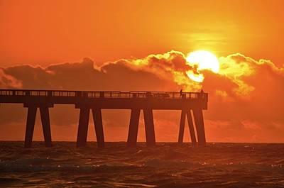 Photograph - Navarre Pier At Sunrise With Fishermen by Jeff at JSJ Photography
