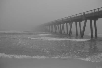 Navarre Pier Disappears In The Bw Fog Art Print