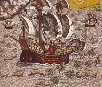 Navigatio En Brasiliam Americae, 16th Art Print by Everett