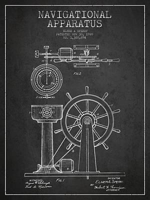 Navigational Apparatus Patent Drawing From 1920 - Dark Art Print