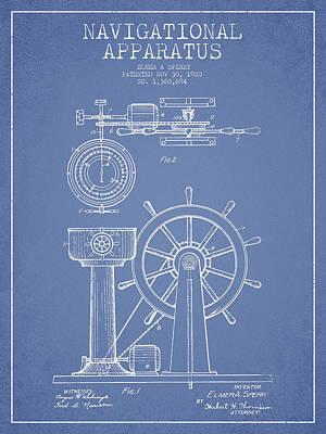 Navigational Apparatus Patent Drawing From 1920 - Light Blue Art Print