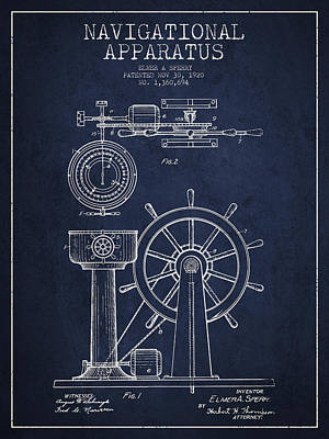 Steering Digital Art - Navigational Apparatus Patent Drawing From 1920 - Navy Blue by Aged Pixel