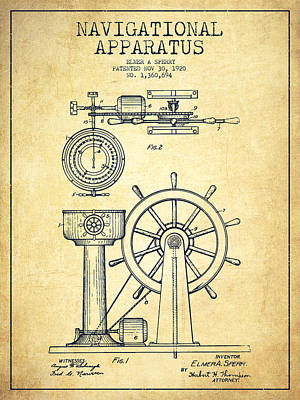 Steering Digital Art - Navigational Apparatus Patent Drawing From 1920 - Vintage by Aged Pixel
