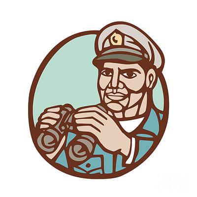 Linocut Digital Art - Navy Admiral Binoculars Circle Linocut by Aloysius Patrimonio