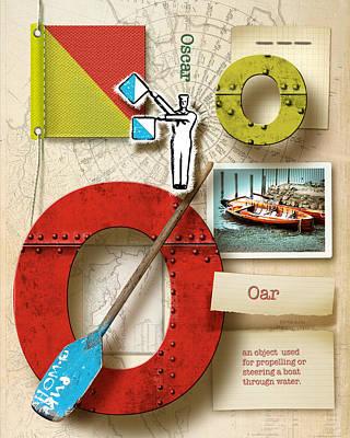 Phonetic Digital Art - Navy Alphabet  Nautical Letter O by Vanessa Bates