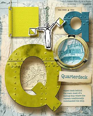 Phonetic Digital Art - Navy Alphabet  Nautical Letter Q by Vanessa Bates