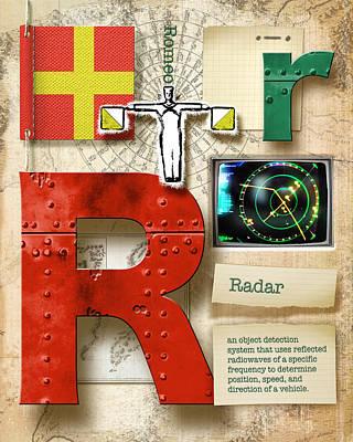 Phonetic Digital Art - Navy Alphabet  Nautical Letter R by Vanessa Bates