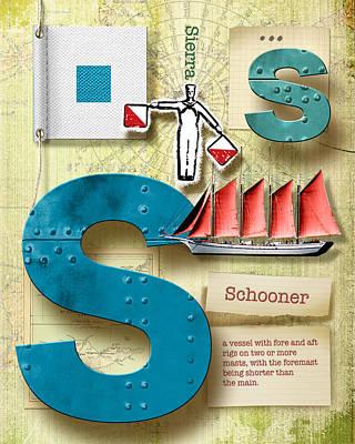 Phonetic Digital Art - Navy Alphabet Nautical Letter S by Vanessa Bates