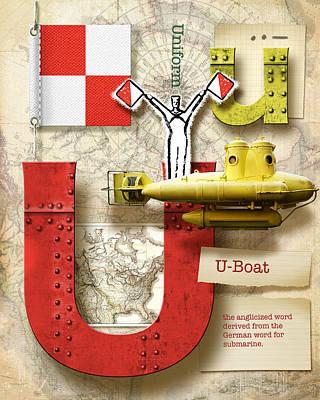 Phonetic Digital Art - Navy Alphabet Nautical Letter U by Vanessa Bates
