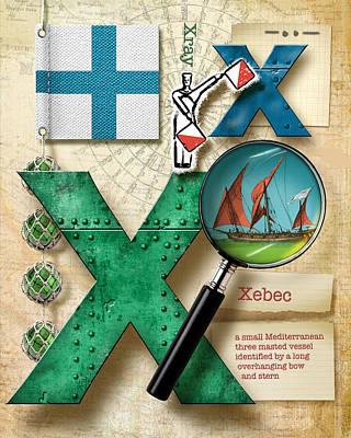 Phonetic Digital Art - Navy Alphabet Nautical Letter X by Vanessa Bates