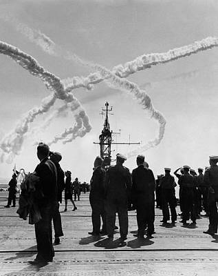 Candid Photograph - Navy And Visitors Watching Planes On The Uss by Kay Bell