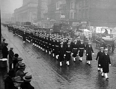 Photograph - Navy Arrives For Football Game by Underwood Archives