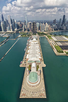 Chicago Skyline Photograph - Navy Pier Chicago Aerial by Adam Romanowicz