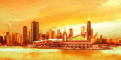 Skylines Paintings - Navy Pier Chicago --Autumn by Doug Kreuger