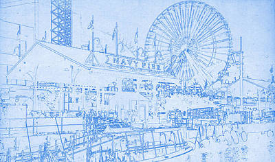 Navy Pier Mixed Media - Navy Pier Chicago Blueprint by MotionAge Designs