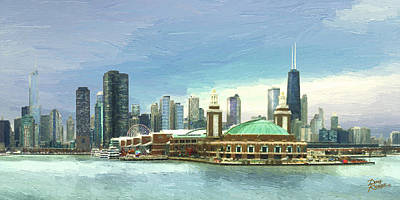 Skylines Royalty-Free and Rights-Managed Images - Navy Pier Chicago --Winter by Doug Kreuger