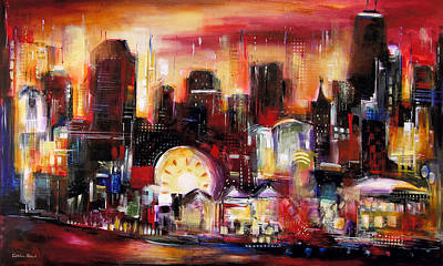 Skyline Painting - Navy Pier - Chicago by Kathleen Patrick