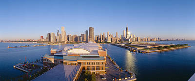 Chicago Skyline Photograph - Navy Pier, Chicago, Morning, Illinois by Panoramic Images