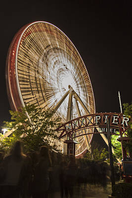 Photograph - Navy Pier Ferris Wheel And Sign by John McGraw