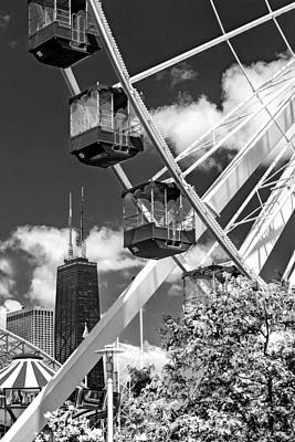 Photograph - Navy Pier Ferris Wheel Black And White by Christopher Arndt