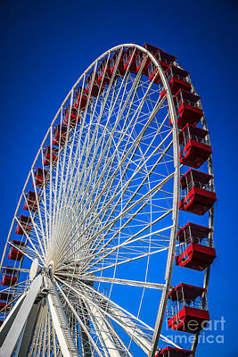 Wheels Photograph - Navy Pier Ferris Wheel In Chicago by Paul Velgos