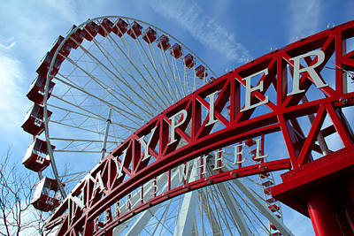 Photograph - Navy Pier Ferris Wheel by James Hammen