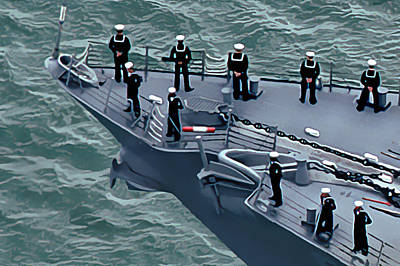 Pop Art Rights Managed Images - Navy Sailors on the Bow Royalty-Free Image by Wernher Krutein
