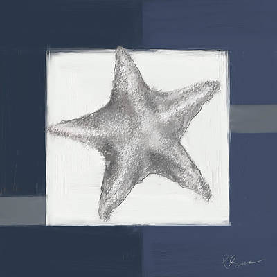 Navy Seashells IIi- Navy And Gray Art Art Print