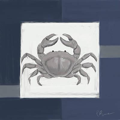 Claude Monet - Navy Seashells IV - Navy and Gray Art by Lourry Legarde