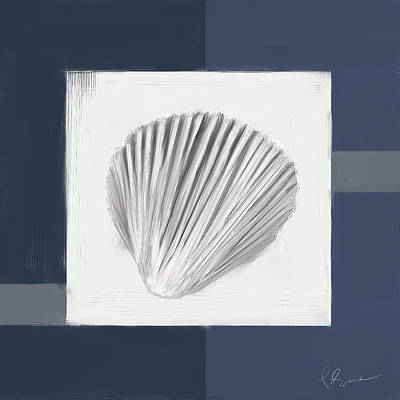 Navy Painting - Navy Seashells V - Navy And Gray Art by Lourry Legarde