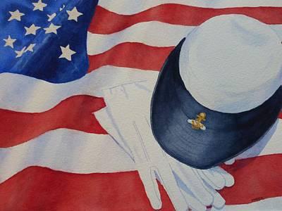 Waving Flag Painting - Navy Wave by Karen King