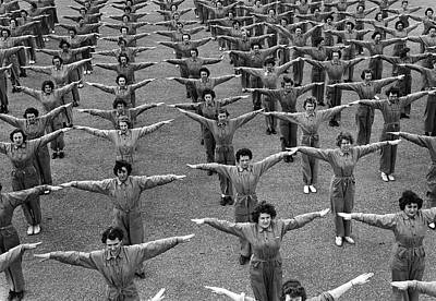 Photograph - Navy Women Excercising by Underwood Archives