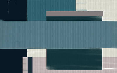 Blue Abstracts Painting - Navy Silence Rectangular Format by Lourry Legarde