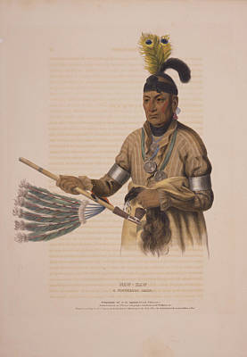 Naw-kaw, A Winnebago Chief  Drawn, Printed & Coloured Print by Litz Collection