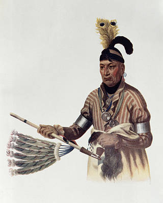 Cameo Photograph - Naw-kaw Or Wood, A Winnebago Chief, Illustration From The Indian Tribes Of North America, Vol.1 by Charles Bird King