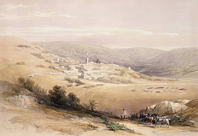 Goat Drawing - Nazareth, April 28th 1839, Plate 28 by David Roberts