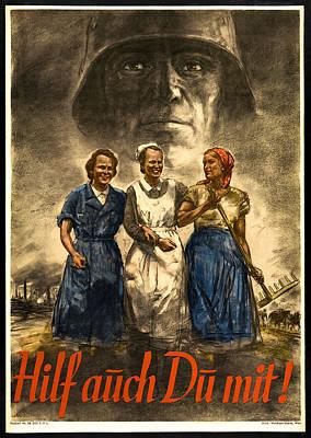 Nazi War Propaganda Poster Print by Daniel Hagerman