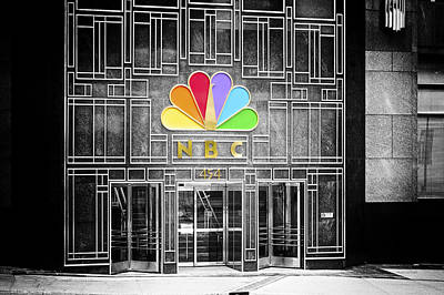 Nbc Facade Selective Coloring Art Print by Thomas Woolworth