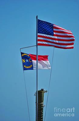 Photograph - Nc And Us Flags by Bob Sample