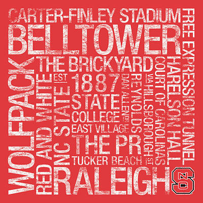 Nc State College Colors Subway Art Art Print by Replay Photos