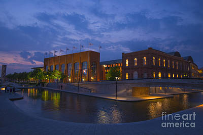 Ncaa Hall Of Champions Blue Hour Wide Art Print by David Haskett