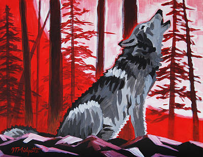 Wolf With Red Sky Art Print