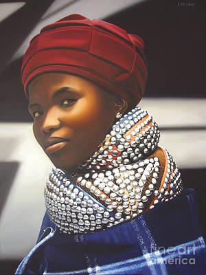 Beadwork Painting - Ndebele Woman 5 by Edgar Pretorius